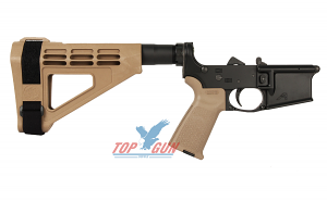 Aero Precision AR15 Pistol Complete Lower Receiver w/MOE Grip and SBM4 Brace - FDE