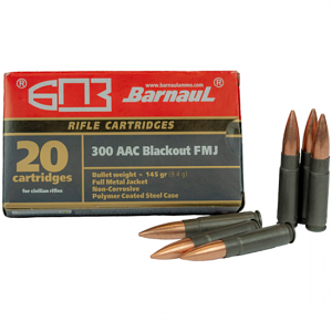 Barnaul 300 Blackout 145 GR. FMJ Steel Polycoated Case - 20RD