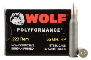 Wolf 22355HP PolyFormance 223 Rem 55 gr Hollow Point (HP) 20 Bx