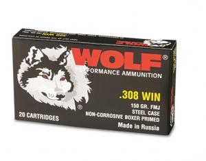 Wolf 308 Winchester 150GR. FMJ Steel - 20RD