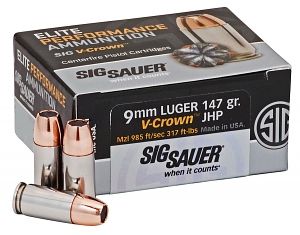 Sig Sauer E9MMA350 Elite V-Crown 9mm Luger 147 gr Jacketed Hollow Point (JHP) 50 RD Box