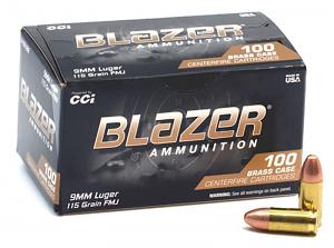 CCI Blazer Brass 9mm Luger 115 GR. FMJ - 100RD