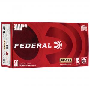 Federal 9mm Luger, 115gr FMJ - 50RD