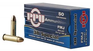 PPU PPH38SF Handgun 38 Special 130 gr Full Metal Jacket (FMJ) 50RD Box