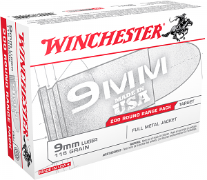 Winchester Ammo USA9W USA 9mm Luger 115 gr Full Metal Jacket