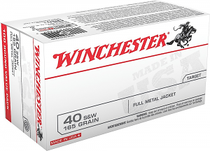 Winchester Ammo USA40SWVP USA 40 S&W 165 gr Full Metal Jacket