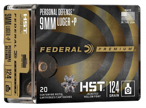Federal P9HST3S Premium Personal Defense 9mm Luger 124 gr HST Jacketed Hollow Point