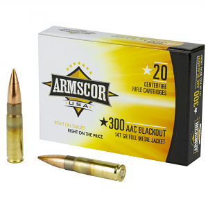 Armscor FAC300AAC1N Rifle 300 Blackout 147 gr Full Metal Jacket (FMJ) 20 Bx/ 10 Cs
