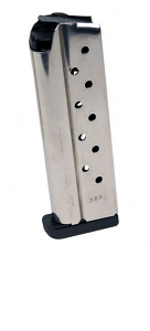 Check-Mate .38 Super, 9RD, Stainless Steel, Removable Base - Full Size 1911 Magazine