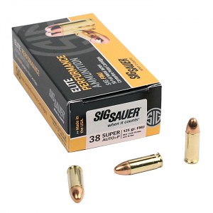 Sig Sauer .38 Super +P 125 GR. Elite Ball FMJ - 50RD