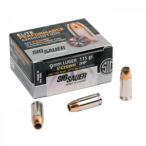 Sig Sauer 9mm 115 GR. Elite V-Crown JHP - 20RD