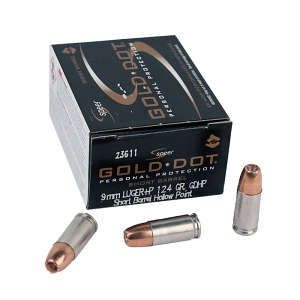 Speer Gold Dot 9mm Luger +P 124 GR. Short Barrel GDHP - 20RD