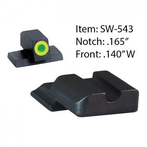 Ameriglo Tritium Night Sight Set - Hackathorn - S&W M&P Shield - Black/Green (lumi-lime outline)