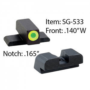 Ameriglo Tritium Night Sight Set - #8 Front/#8 Rear Set - Sig Sauer