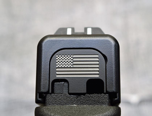 Milspin Custom Back Plate - US Flag - Standard Glock - Stainless Steel with Black Coating