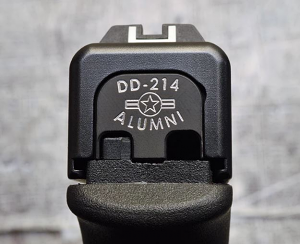 Milspin Custom Back Plate - DD-214 Alum - Standard Glock - Stainless Steel with Black Coating