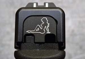 Milspin Custom Back Plate - Pin Up Girl - Standard Glock - Stainless Steel with Black Coating
