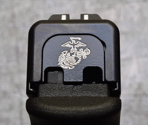 Milspin Custom Back Plate - USMC - Standard Glock - Stainless Steel with Black Coating