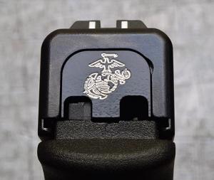 Milspin Custom Back Plate - USMC - Standard Glock - Stainless Steel with Black Coating