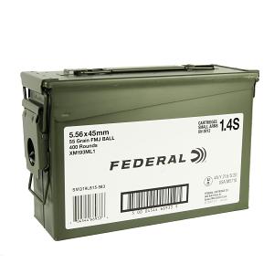 Federal XM193 5.56 55GR. FMJ - 400 Round Case XM193ML1