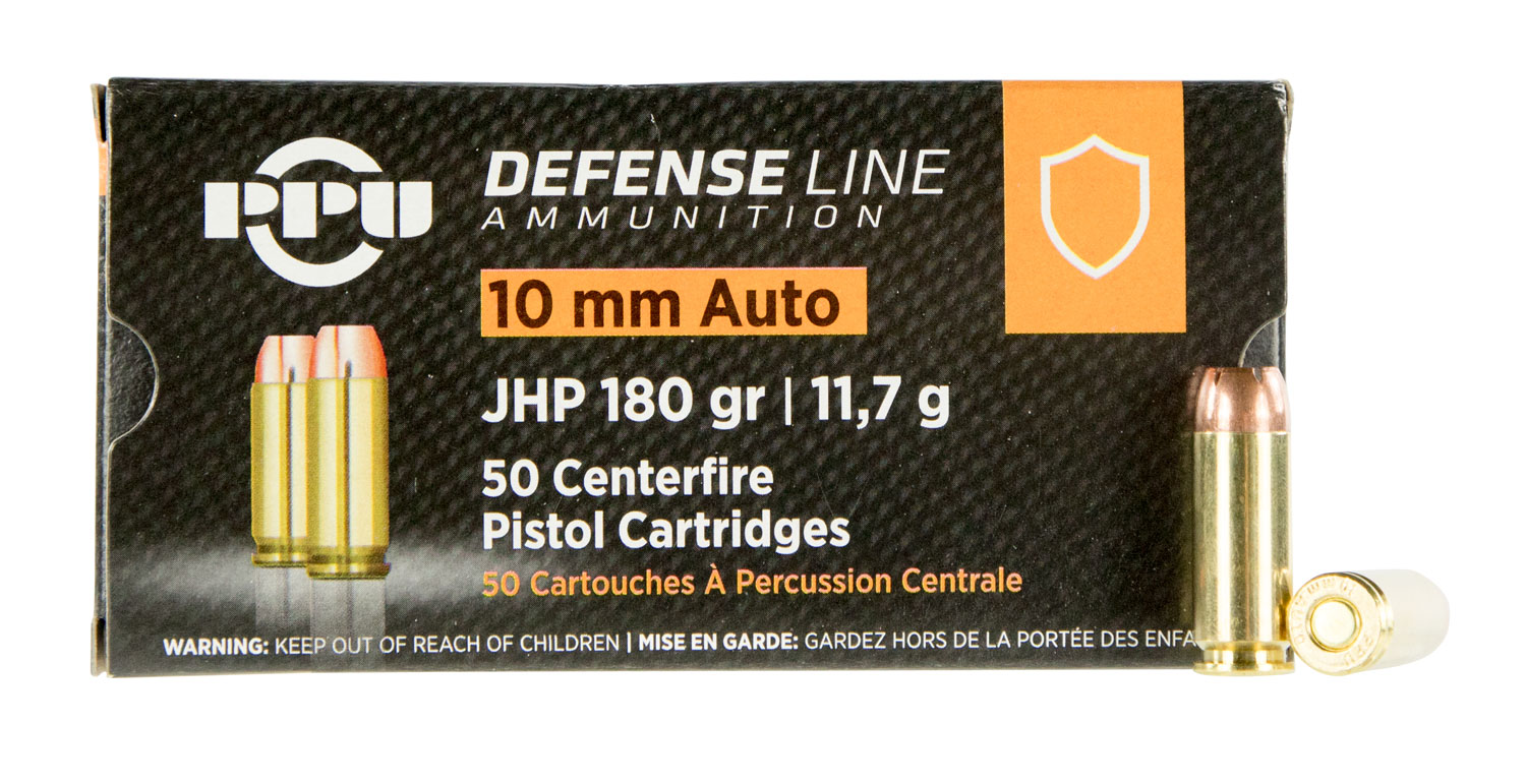 PPU PPD10 Defense 10mm Auto 180 gr Jacketed Hollow Point