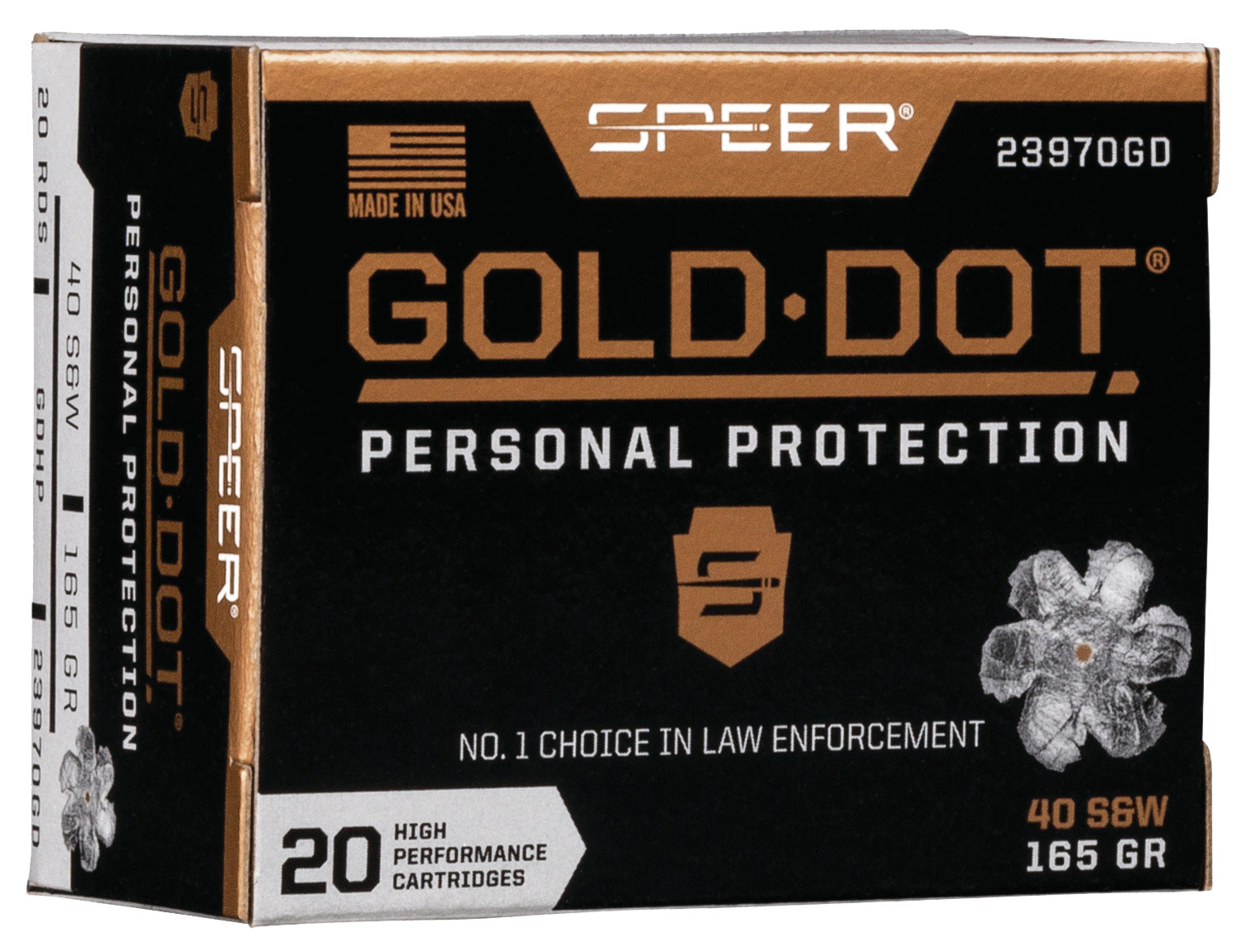 Speer Ammo 23970GD Gold Dot Personal Protection 40 S&W 165 gr Hollow Point