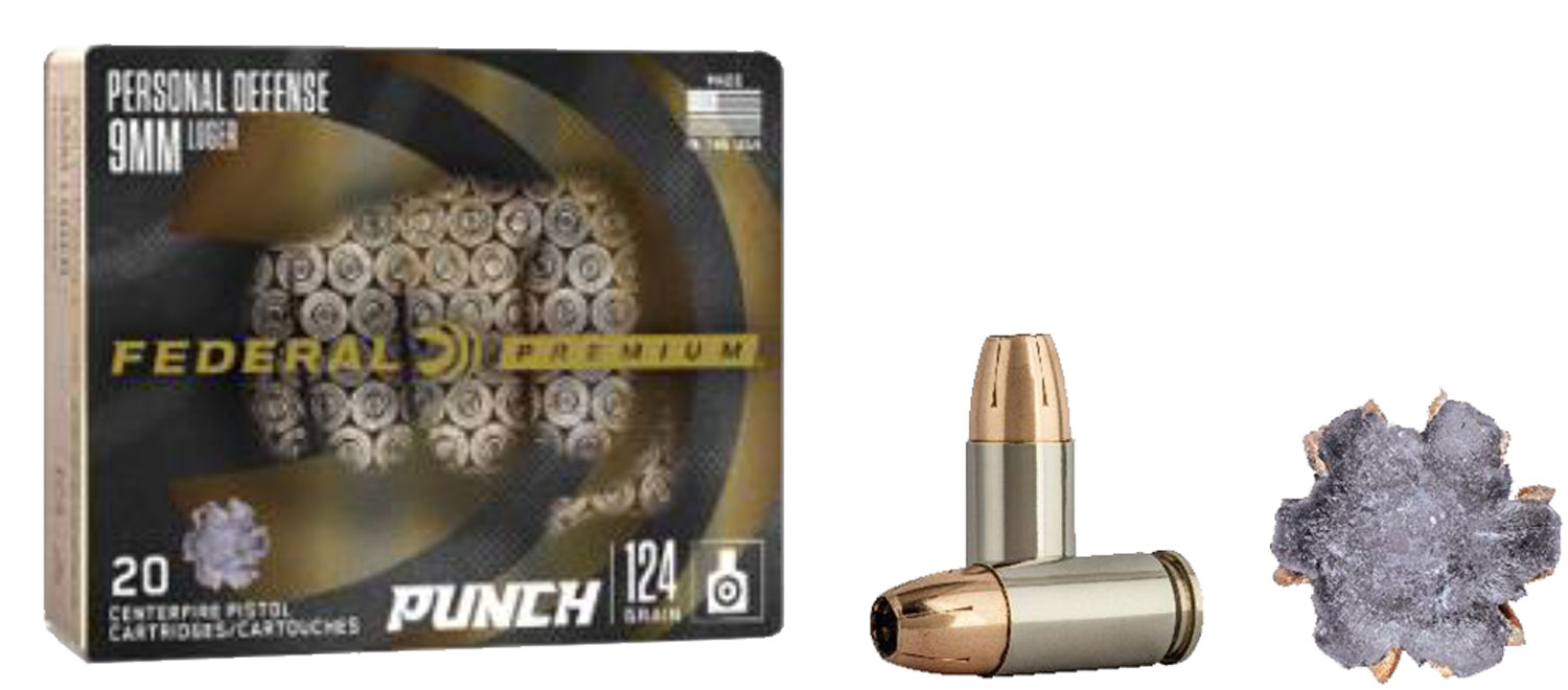 Federal PD9P1 Premium Punch 9mm Luger 124 gr Jacketed Hollow Point (JHP) 20 Box