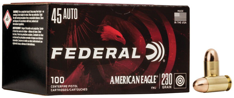 Federal AE45A100 American Eagle 45 ACP 230 gr Full Metal Jacket (FMJ) 100RD Box
