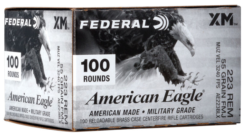 Federal AE223BLX American Eagle 223 Rem 55 gr Full Metal Jacket Boat-Tail (FMJBT) 100RD Box