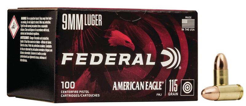 Federal AE9DP100 American Eagle 9mm Luger 115 gr Full Metal Jacket (FMJ) 100RD Box