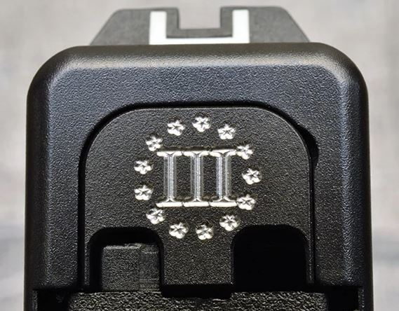 Milspin Custom Back Plate - Three Percenter - Standard Glock - Stainless Steel with Black Coating