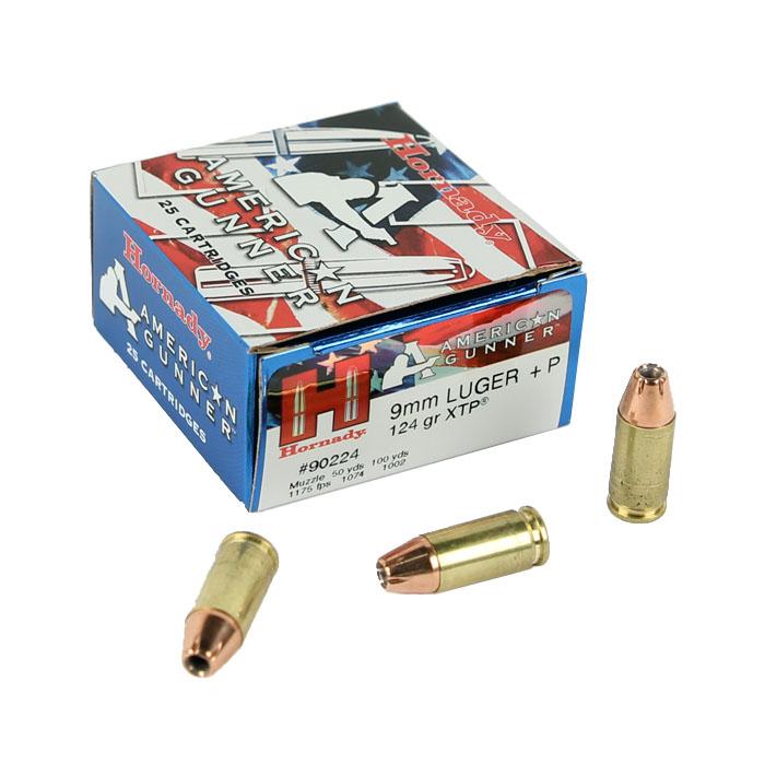 Hornady American Gunner XTP 9mm luger +P 124 GR. HP - 25RD