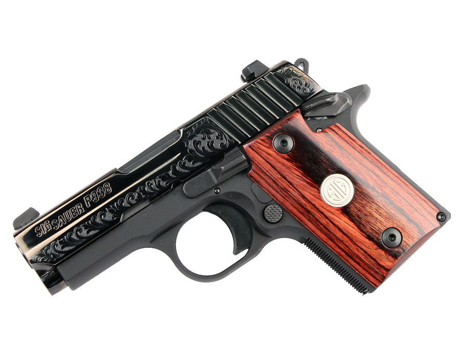 Sig Sauer P938 9mm, Night Sights, Engraved Rosewood