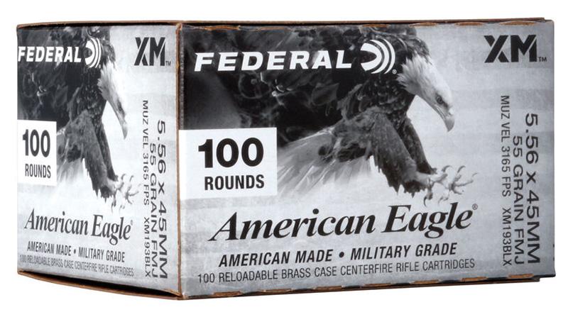 Federal XM193BLX American Eagle 5.56x45mm NATO 55 gr Full Metal Jacket Boat-Tail (FMJBT) 100RD Box