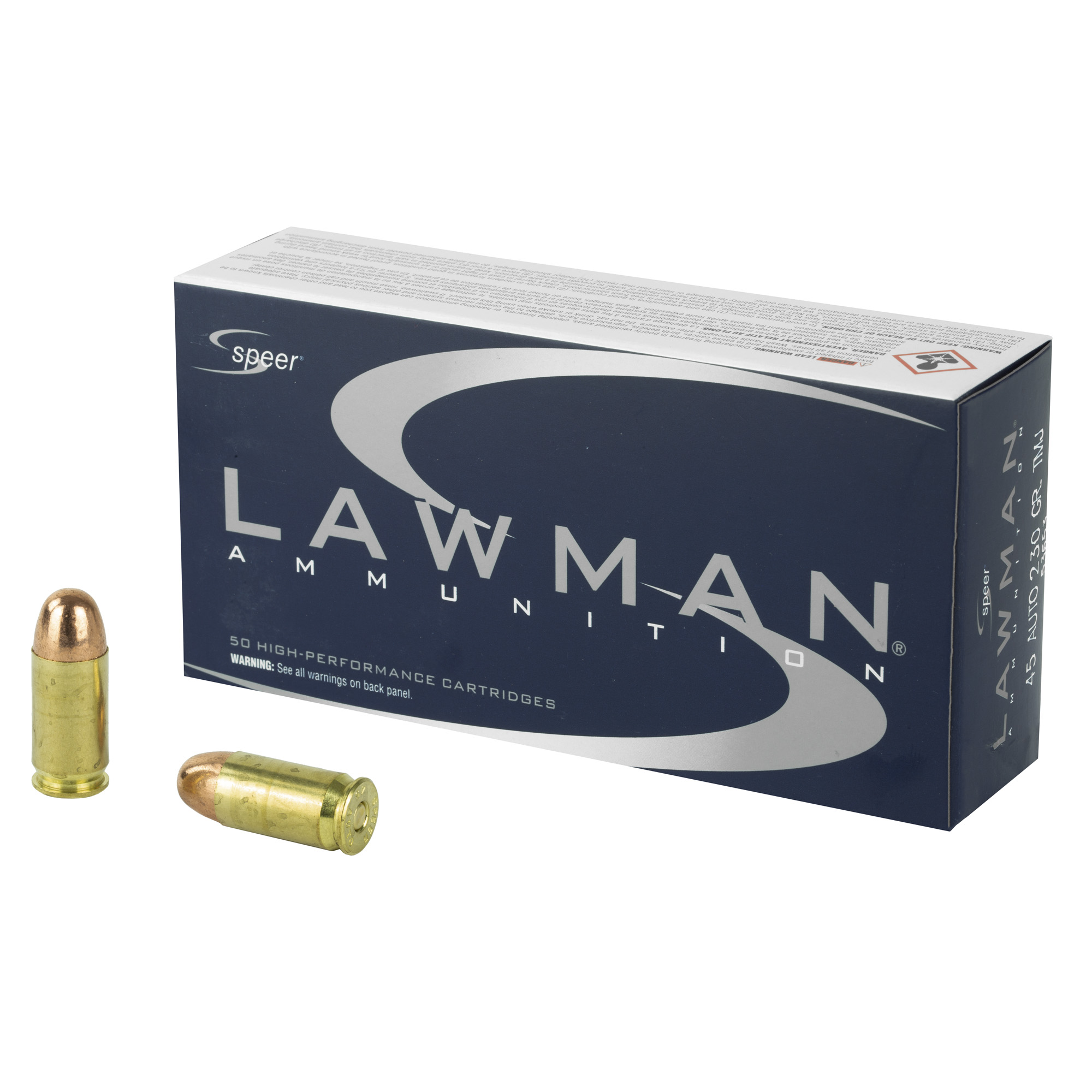 Speer Ammo 53653 Lawman 45 ACP 230 gr Total Metal Jacket (TMJ) 50RD Box