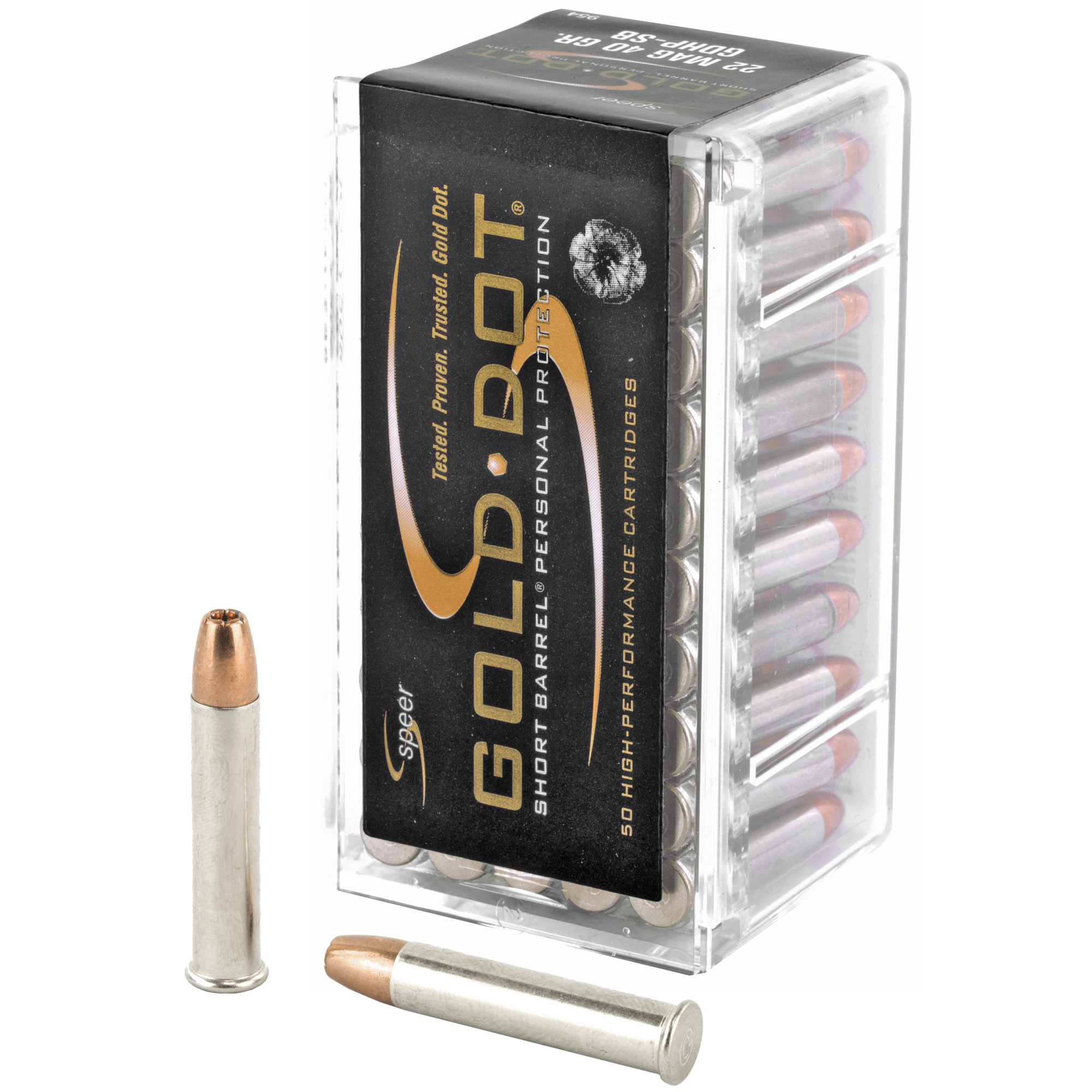 Speer Ammunition, Gold Dot Short Barrel, 22 WMR, Personal Protection, 40 Grain, Gold Dot Hollow Point