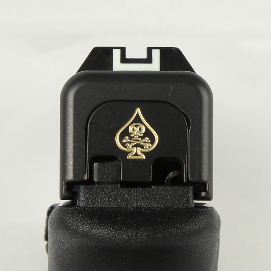 Milspin Custom Back Plate - Death Card - Standard Glock - Brass