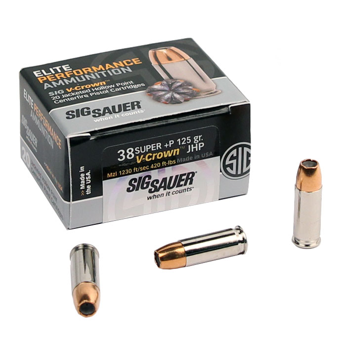 Sig Sauer .38 Super +P 125 GR. Elite V-Crown JHP - 20RD