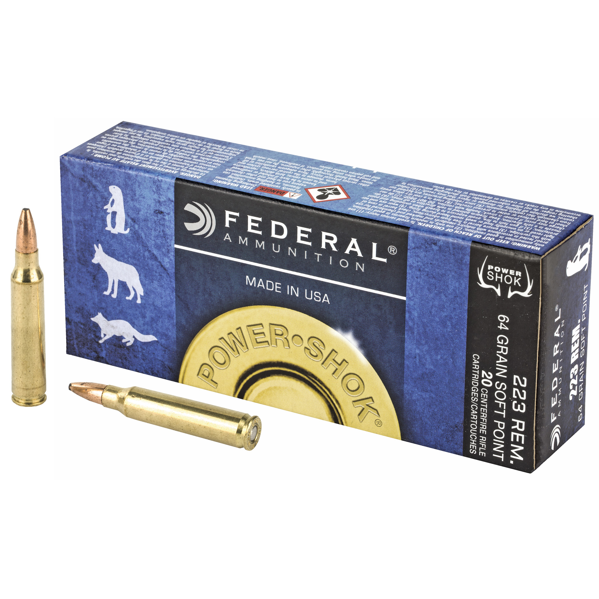 Federal 223L Power-Shok 223 Rem 64 gr Jacketed Soft Point (JSP)