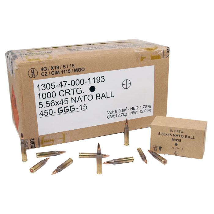 GGG M855 5.56 NATO 62GR FMJ - 1000RD Case