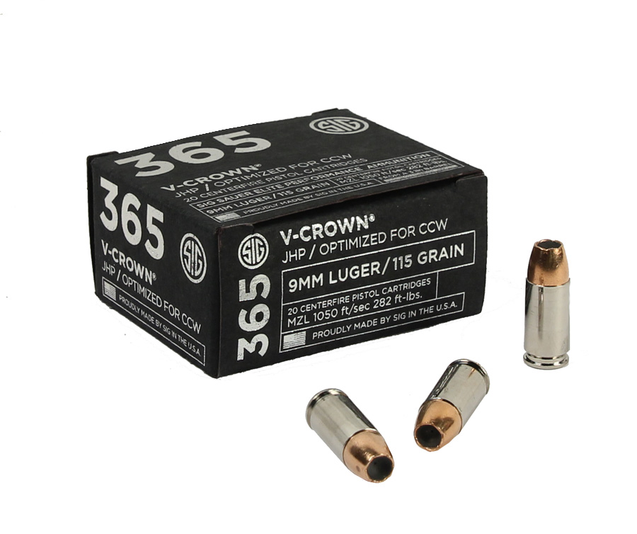 Sig Sauer 9mm 115 GR. Elite V-Crown 365 JHP - 20RD