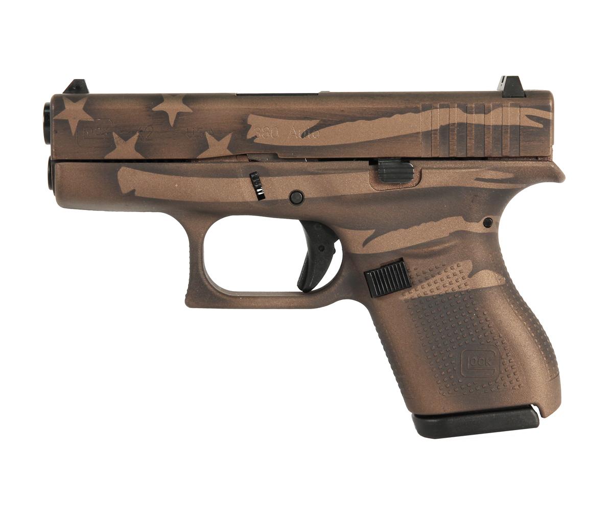 Glock 42 .380 - Battleworn Bronze Distressed Flag
