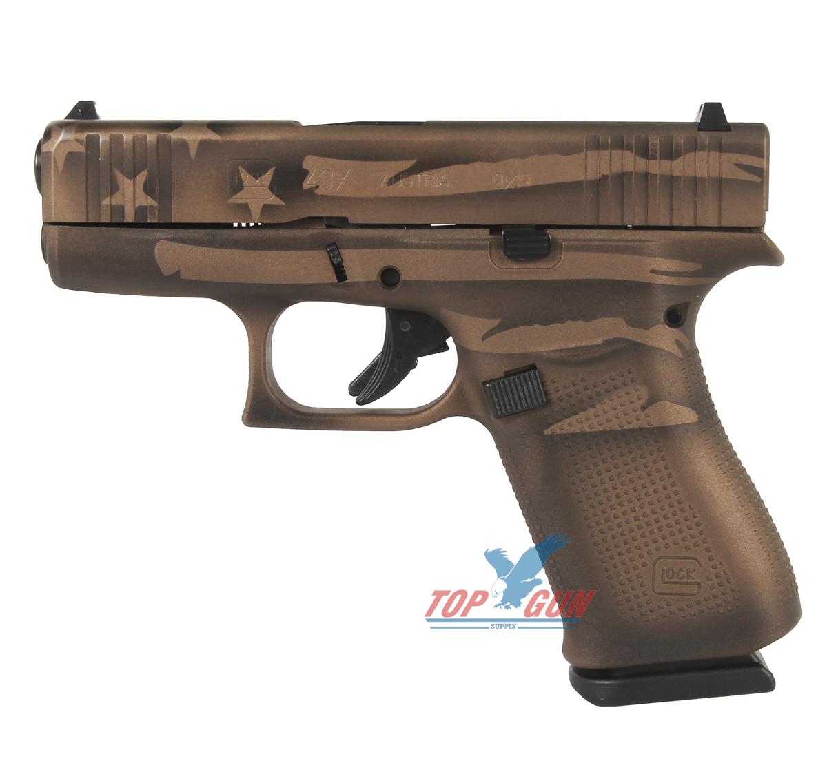 Glock 43X 9mm - Battleworn Bronze Distressed Flag
