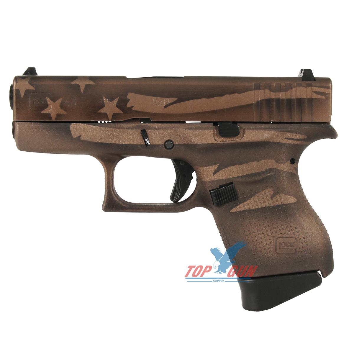 Glock 43 9mm - Battleworn Bronze Distressed Flag