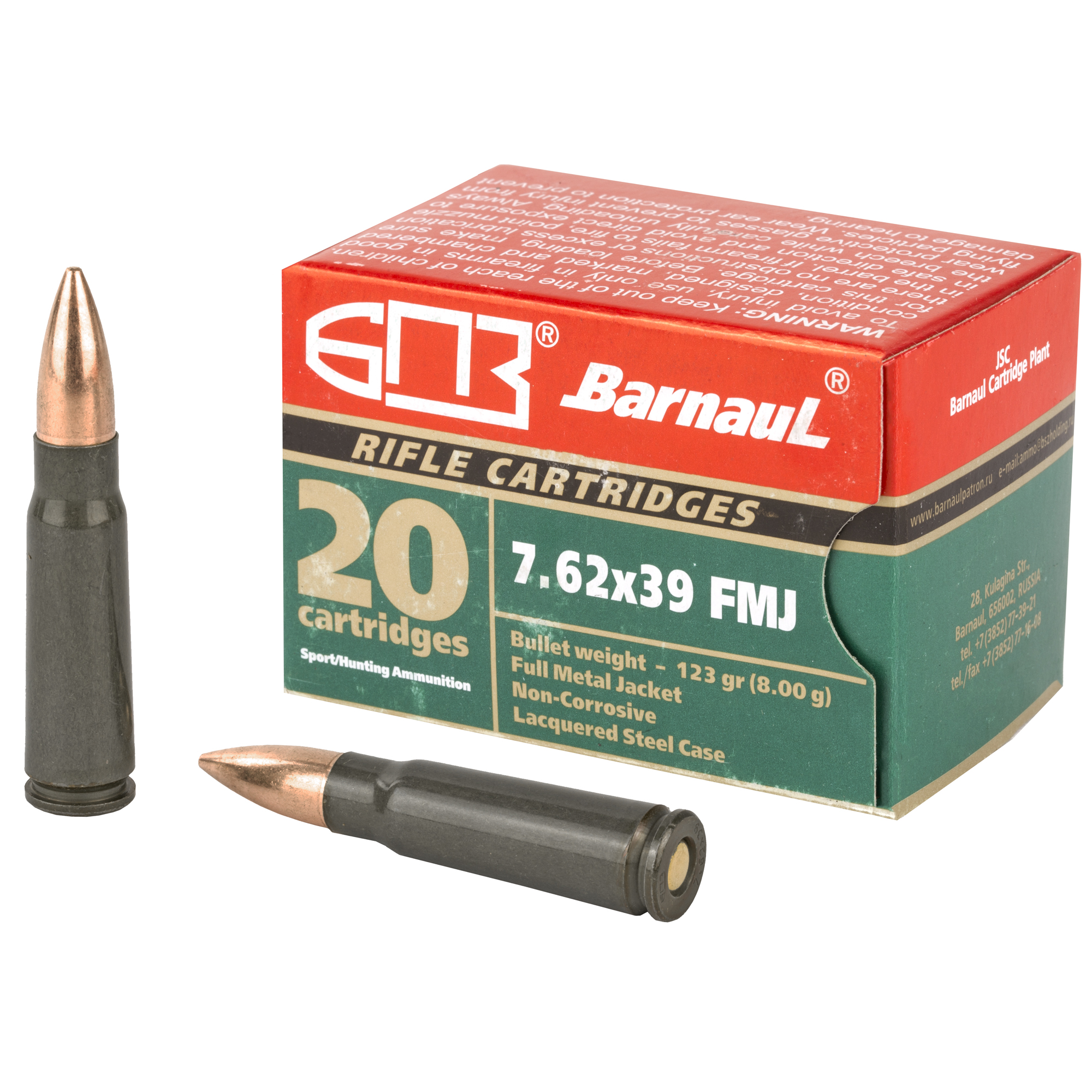 Barnaul 7.62x39mm 123 GR. FMJBT - Steel Case - 20RD