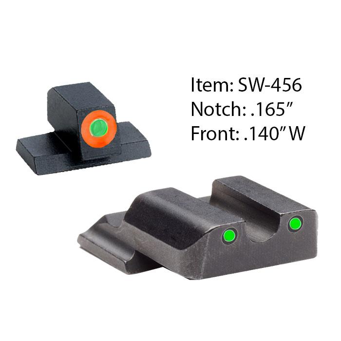 Ameriglo Tritium Night Sight Set - Spartan Operator - S&W M&P Shield - Green/Green (orange outline)