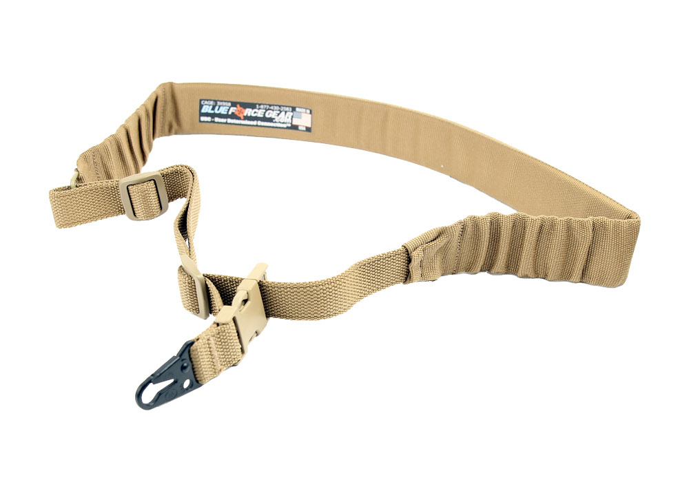 Blue Force Gear UDC One Point Padded Bungee Sling - Hook Adapter - Coyote Brown