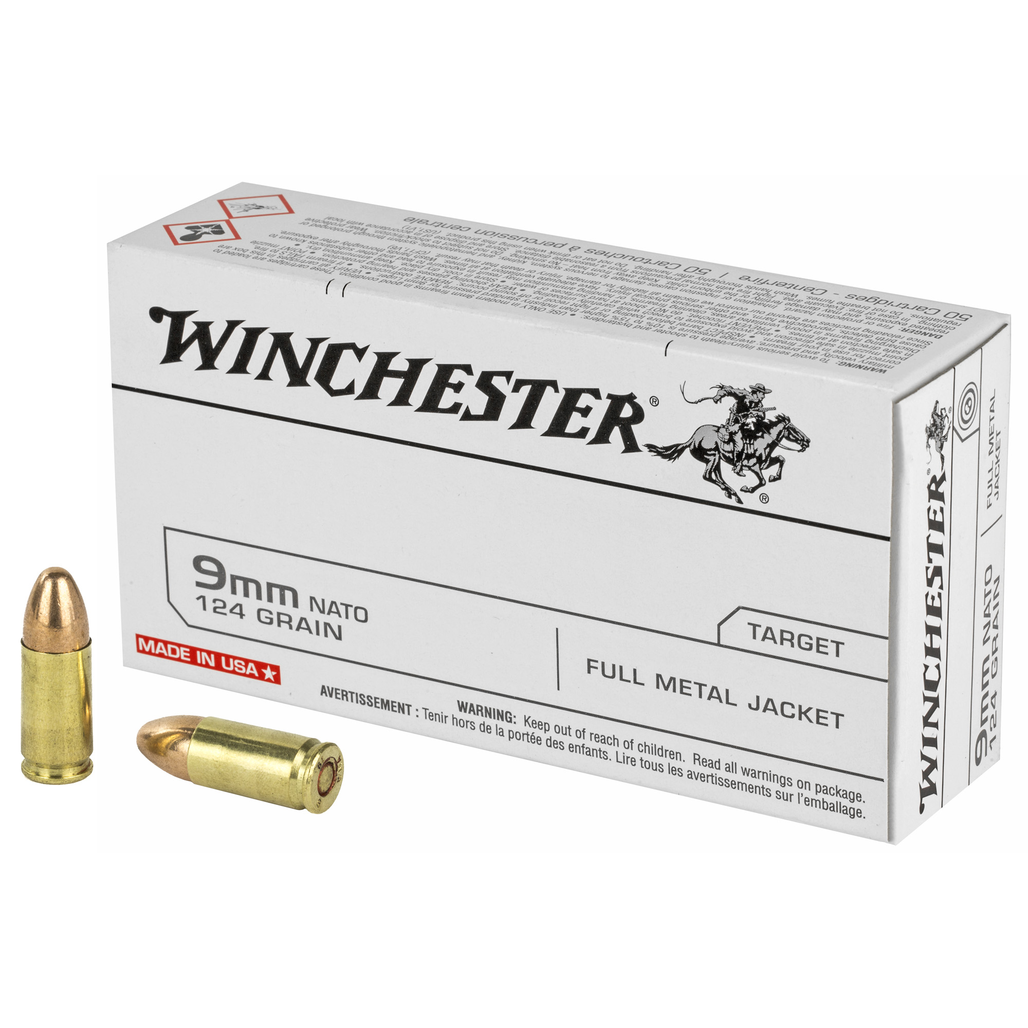 Winchester Ammo Q4318 USA 9mm NATO 124 gr Full Metal Jacket (FMJ) 50 Box
