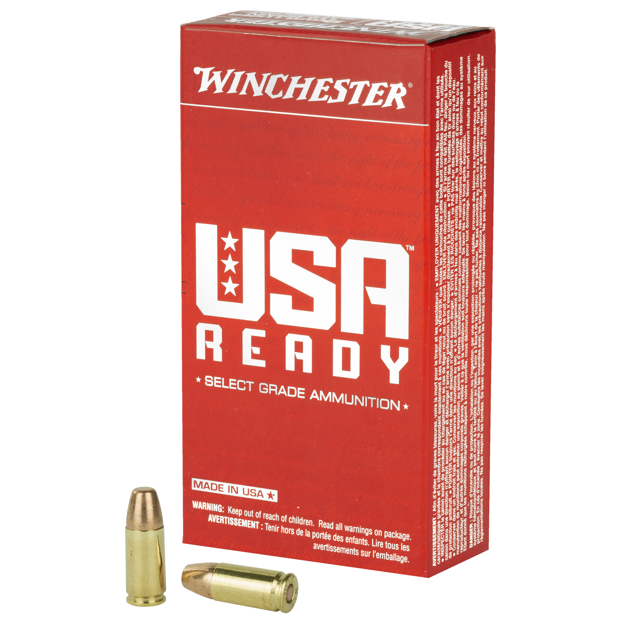 Winchester Ammo RED9 USA Ready 9mm Luger 115 gr Full Metal Jacket Flat Nose