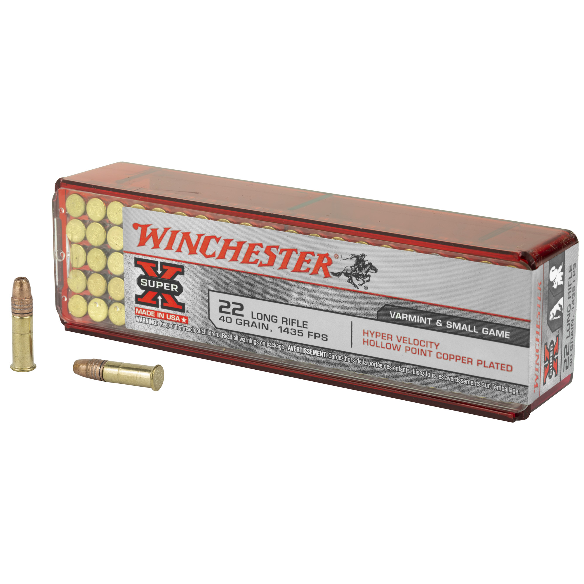 Winchester Ammo XHV22LR Super-X 22 LR 40 gr Hyper Velocity Hollow Point Copper Plated 100RD